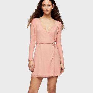 Topshop Long Sleeve Seersucker Wrap Mini Dress